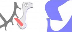 Formvollendet: Im Gegensatz zur Schweizer Ankerhemmung (links) sind die Pulsomax-Paletten (rechts)durch modifizierte Funktionsflächen genau auf ihre Anforderungen zugeschnitten