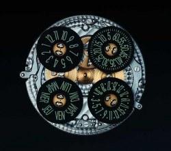 Uhrzeit und Datum werden über vier Scheiben in eigenen Fenstern angezeigt