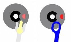 Brücke statt Stift: Der Sicherheitsstift der Schweizer Ankerhemmung (links) unterbindet ein ungewolltes Verschieben der Ankergabel bei Stößen. Bei der Pulsomax-Hemmung (rechts) übernimmt diese Aufgabe eine Verbindungsbrücke zwischen den Gabelenden des Ankers