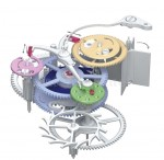 Zwischen Federhausrad und Unruh wirkt ein patentiertes Nachspannwerk als Schrittmacher für das sprunghafte Weiterschalten der Stunden- und Minutenanzeige