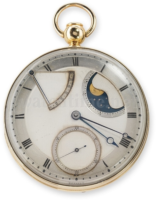 Breguet Nr. 5: Perpetuelle mit Viertelstundenrepetition, Mondphasen- und Gangreservenanzeige, 60 Stunden Gangautonomie. 1794 verkauft an Graf Journiac Saint-Méard