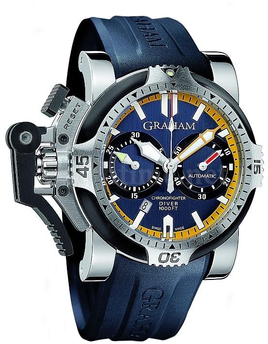 Ein typischer Graham-Zeitmesser, mit sportlichem Design und allen Merkmalen, die eine Taucheruhr braucht