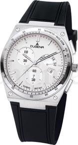 Mit Stoppfunktion, retrograder Tagesanzeige und Datum: der Dugena Terminal Chronograph, erhältlich mit silberfarbenem oder schwarzem Zifferblatt