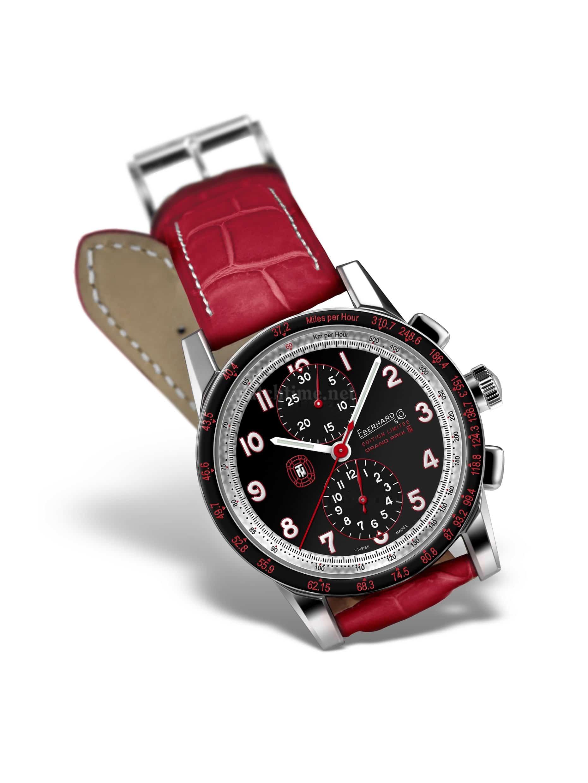 Rot hat pepp, der neue Tazio Nuvolari-Chronograph ist aber auch mit schwarzem Lederband zu haben