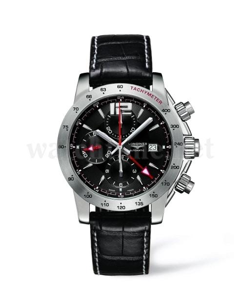 Longines Admiral: Chronograph mit Automatikwerk L686, 46 Stunden Gangreserve, zweite Zeitzone, Datum, Stunde, Minute, Sekunde, Tachymeterskala, wasserdicht bis 100 Meter