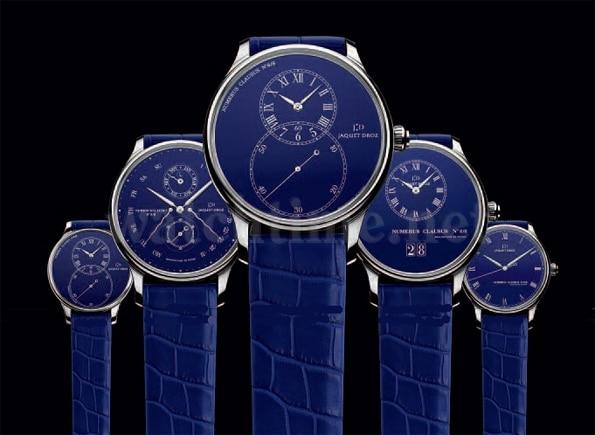 Die fünf blauen Begleiter sind bis auf die Grande Seconde Medium mit 39 Millimetern alle 43 Millimeter groß