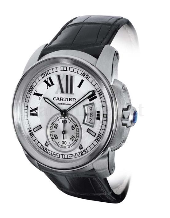 Calibre de Cartier: Edelstahl, weißes Zifferblatt