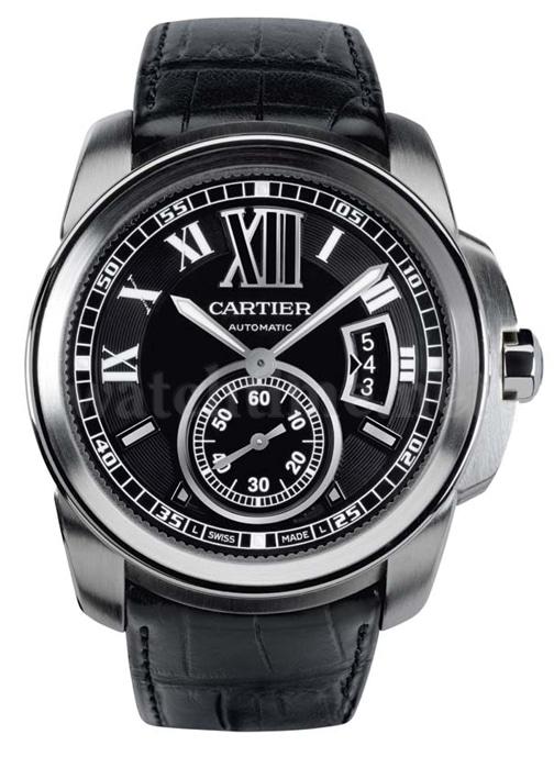 Calibre de Cartier: Edelstahl, schwarzes Zifferblatt