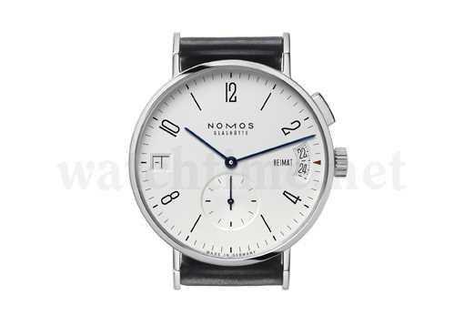 Nomos Tangomat GMT +-: Eine Zahl zwischen 0 und +/- 12 bei Neun verrät wieviele Stunden man von der Heimat weg ist