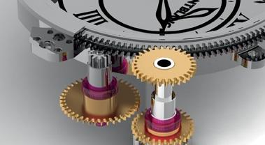 Ein Getriebe dreht zwei Saphirglasscheiben mit aufgedampften Zeigern
