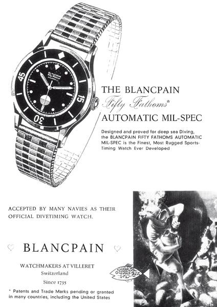 """Werbe-Historie: Historische Werbeanzeige von Blancpain, mit der die """"Fifty Fathoms"""" als Uhr fürs Tiefseetauchen und als offizielles Modell verschiedener Navys angepriesen wird"""