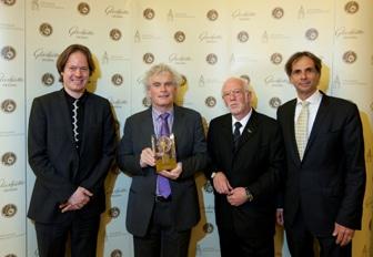 Jan Vogler, Sir Simon Rattle, Günter Wiegand, Martin Hoffmann (v.l.n.r.)