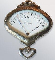 """Inspirationsquelle späterer Armbanduhren: Die """"Sector Watch"""" von Record Watch aus Tramelan, gefertigt ab 1903, mit retrograder Stunden- und Minutenanzeige"""