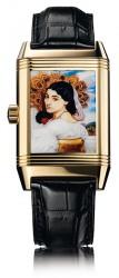 Reverso Pavonia in Gelbgold: Bei dieser einmaligen Ausführung ist die Rückseite der Uhr-Ikone mit dem Miniatur-Emailbild eines Gemäldes aus dem 19. Jahrhundert kunstvoll verziert