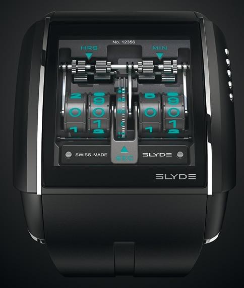 """Virtuelle Komplikationen: Die neue """"Slyde"""" von Jorg Hysek für HD3 Complications offeriert traditionelle Uhrmacherei auf einem Touchscreen, der hier eine mechanisch gesteuerte, digitale Zeitanzeige mit springender Stunde simuliert"""