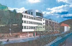 Schon im Bau: Am Ufer der Müglitz entsteht das neue Gebäude der Grossmann Uhren GmbH. Die Einweihung ist für 2012 avisiert. Uhren werden bereits 2011 ausgeliefert.