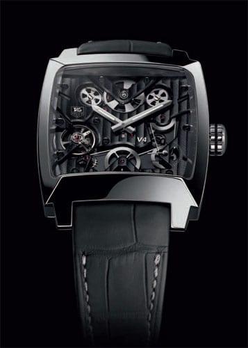 Uhr mit Riemenantrieb: die Monaco V4 Titanium Ruthenium and Ceramic von TAG Heuer