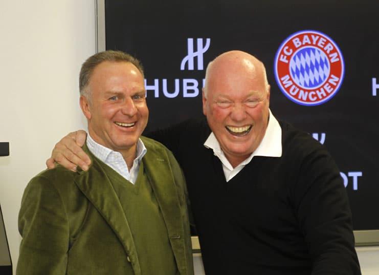 Karl-Heinz Rummenigge, Vorstandsvorsitzender FC Bayern München AG, und Jean-Claude Biver, Chairman Hublot