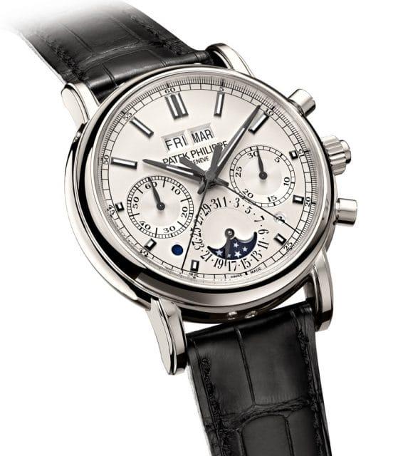Der Schleppzeigerchronograph von Patek Philippe ist kombiniert mit einem ewigen Kalender. Die Schaltjahresanzeige befindet sich zwischen vier und fünf Uhr