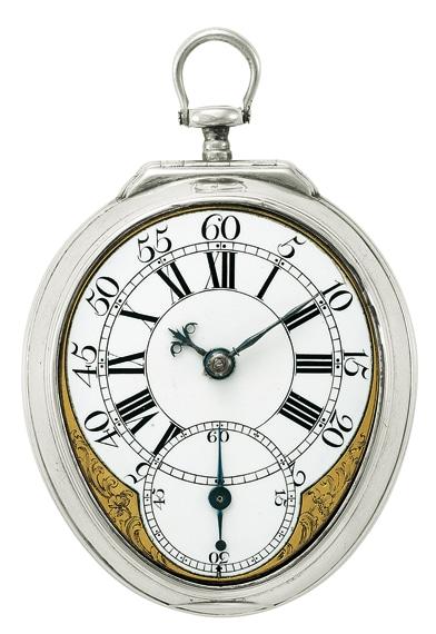 Bei Taschenuhren tritt die Sekundenanzeige erst nach 1750 regelmäßig auf, im Zifferblattzentrum ebenso häufig wie dezentral (Taschenuhr aus London, um 1745/50)