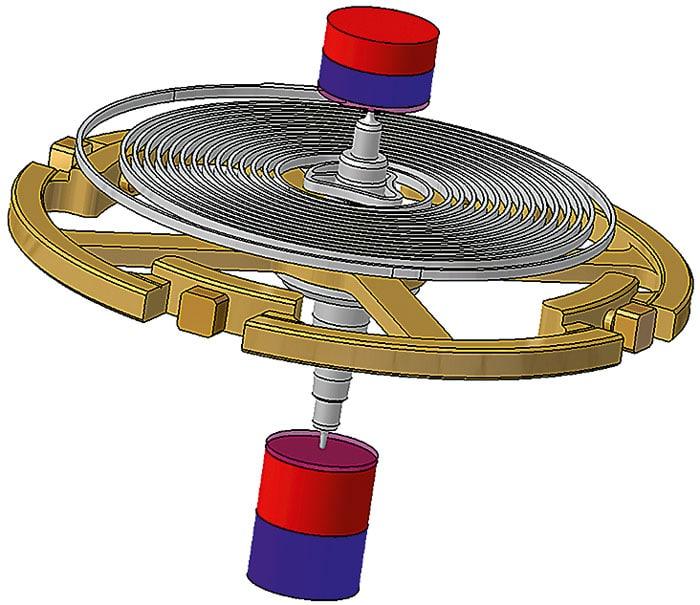 Die Spitzen der Zapfen der Unruhwelle befinden sich in beständigem Kontakt mit den kleinen Permanentmagneten. Durch das aufgebaute Magnetfeld zentrieren sich die Zapfen
