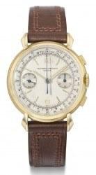 Los 106: Vacheron Constantin Chronograph, 18K Gold, Ref. 4718, hergestellt 1951. Schätzpreis 15.000-20.000 Euro, verkauft für 40.000 Euro