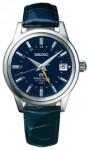 ... sowie die Grand Seiko GMT mit blauem Zifferblatt in eleganter...
