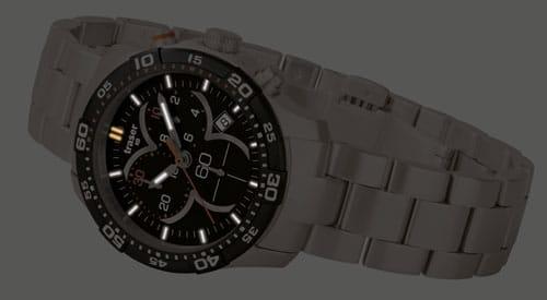 traser® H3 Ladytime Chronograph Black mit Stahlband (Nachtbild)