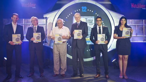 (V.l.) Dominik Grau (Managing Director und Publisher WatchTime USA), Gerrit Klein (Geschäftsführer Ebner Verlag), Shri Kapil Sibal (Minister of Human Resources Development in der indischen Zentralregierung), Joe Thompson (Chefredakteur WatchTime USA), Riyad Mathew (Mit-Inhaber Malayale Manorama), Neha S. Bajpai (Chefredakteurin WatchTime India)
