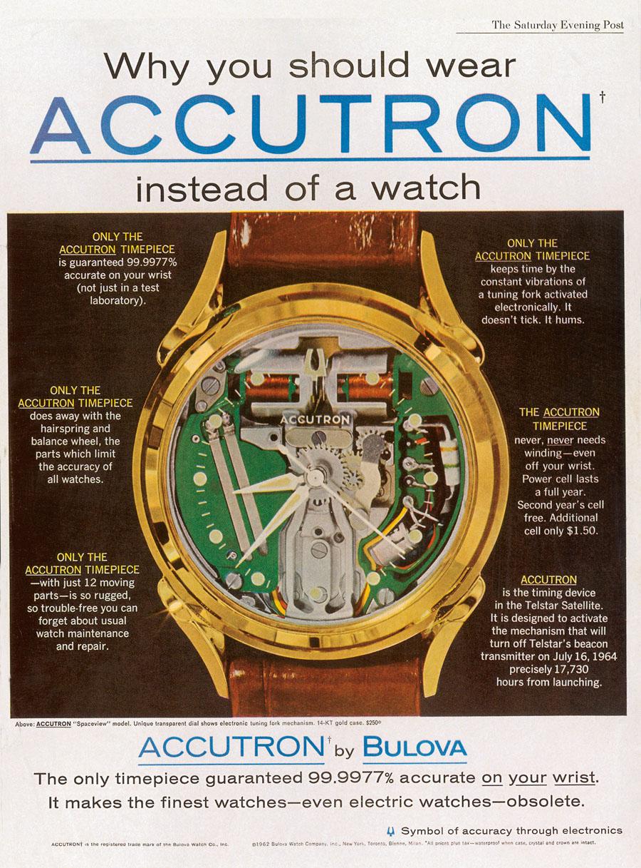 Die Accutron wird mit ihrer enormen Ganggenauigkeit gern als Überuhr vermarktet. Diese lässt sich zwar auch mit Schnellschwingerwerken erzielen, jedoch meist auf lange Sicht weniger stabil