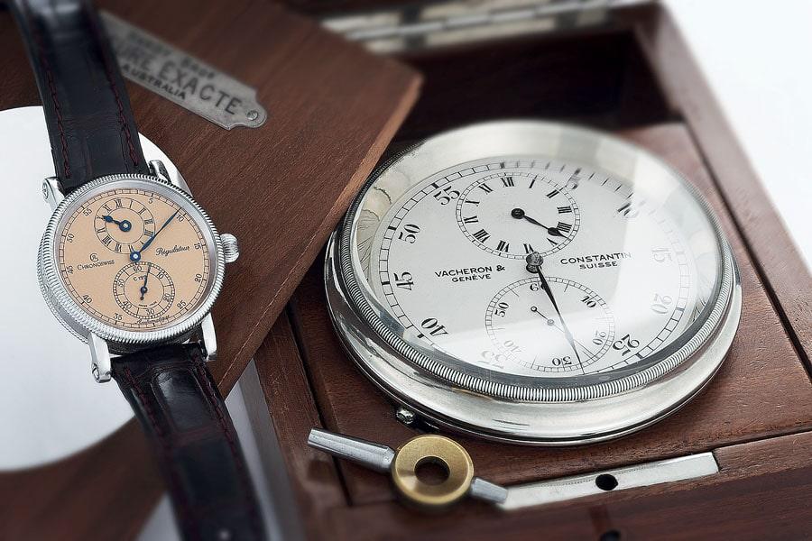 Zum ersten Régulateur von Chronoswiss inspirierte Gerd-Rüdiger Lang ein Marinechronometer von Vacheron Constantin
