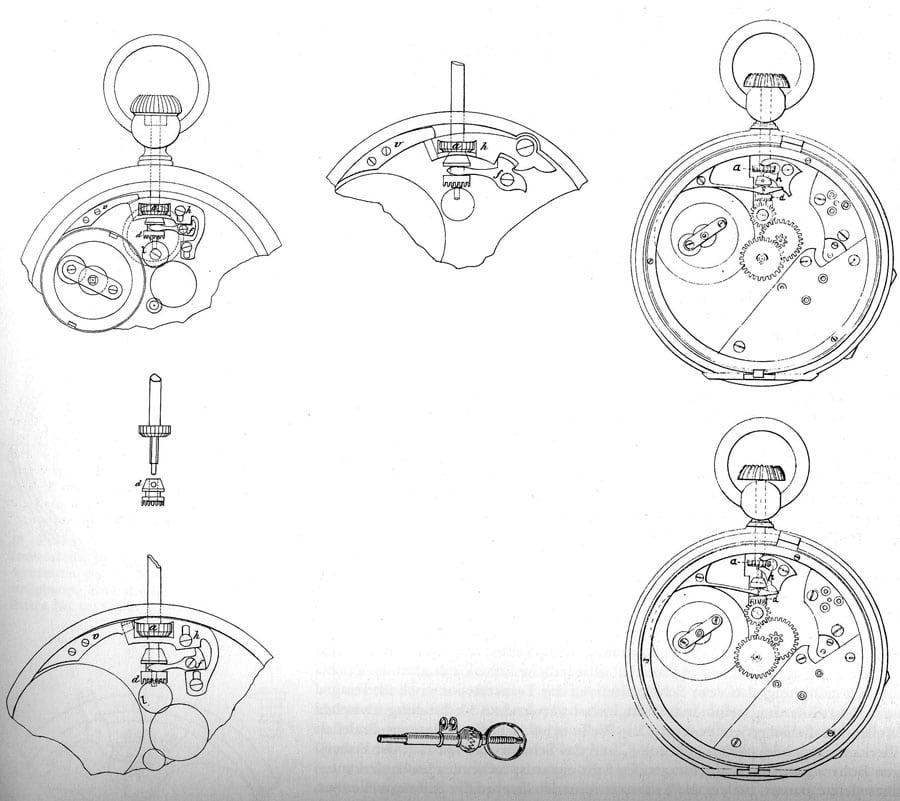 Verschiedene Versionen des Kronenaufzugs von Jean-Adrien Philippe