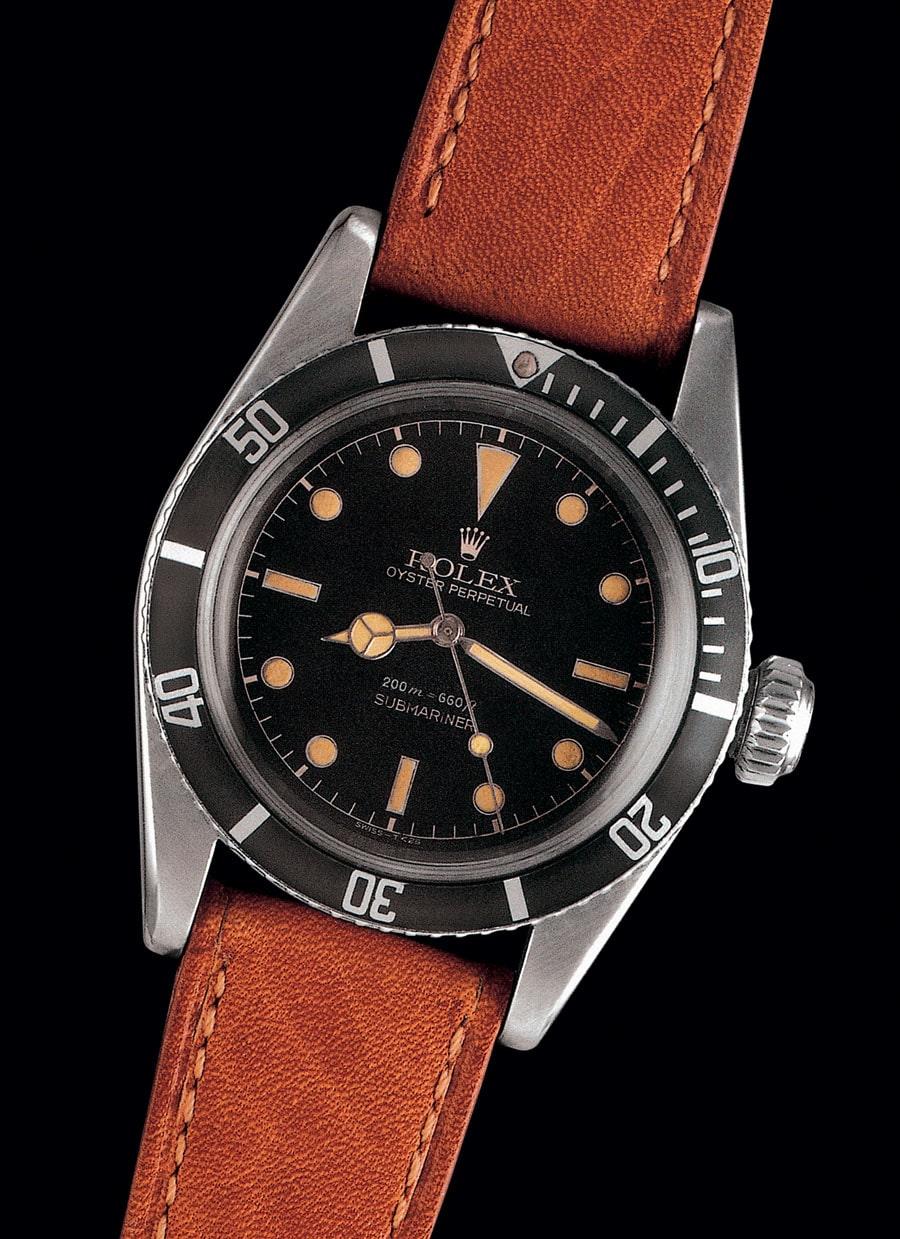 Die ersten Submariner ohne Kronenschutz werden oft James-Bond-Rolex genannt. Die Referenz 6538 von 1959 brachte 2006 bei Antiquorum 44.840 CHF