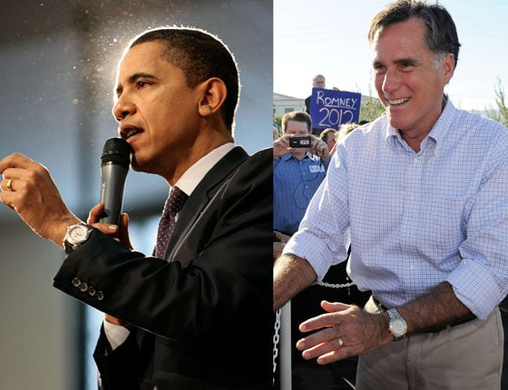 Links: Barack Obama trägt eine Vintage TAG Heuer Aquaracer; rechts: Mitt Romney trägt einen Link-Chronographen