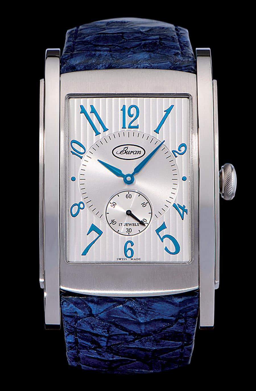 Eckig in Blau: das Uhrenmodell Golf von Buran