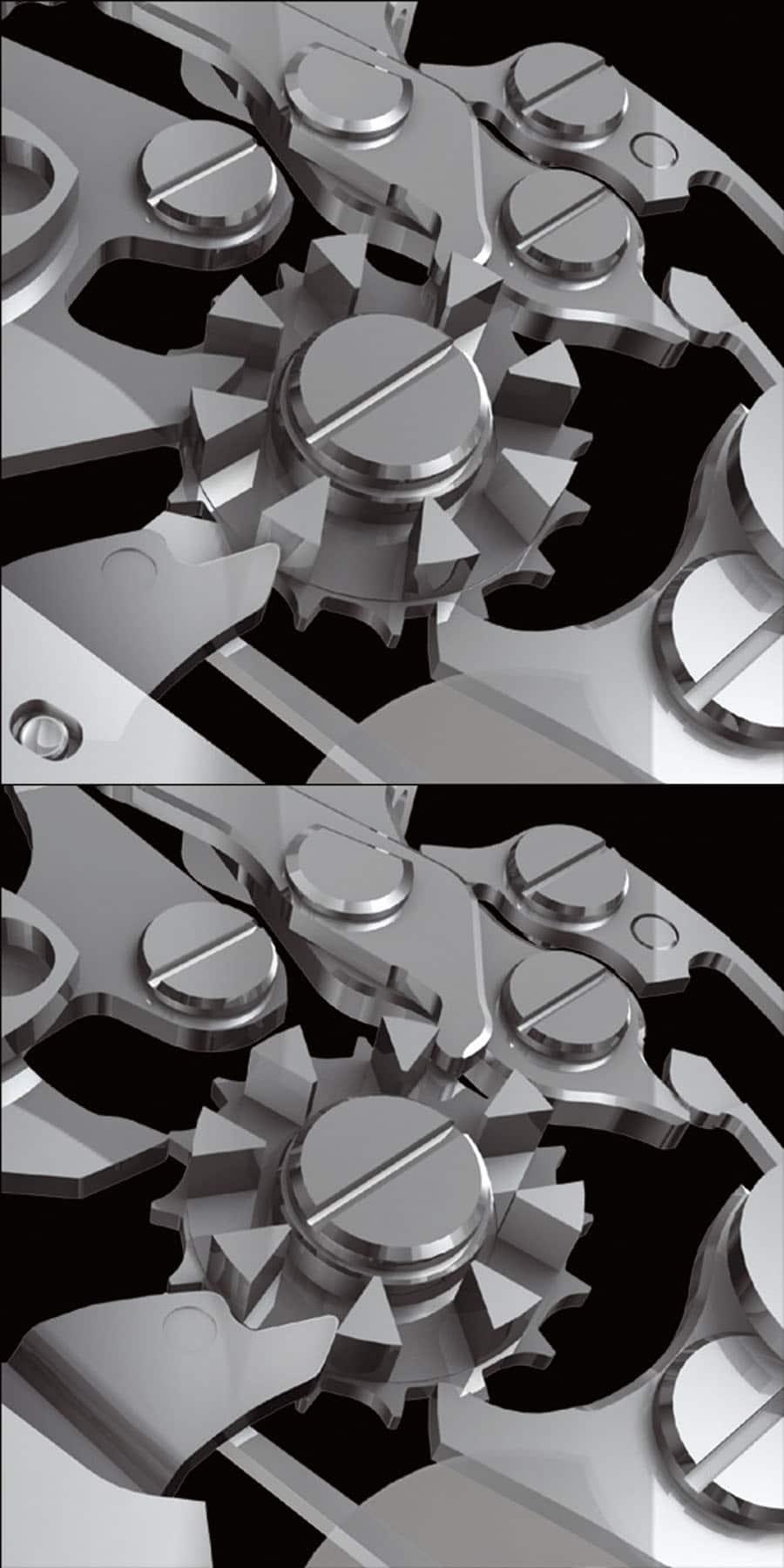 Das Schaltrad sorgt nach Betätigung der Drücker für maximale Stabilität und Präzision