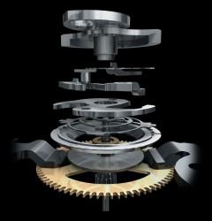 Durch die vertikale Kupplung laufen die Chronographenzeiger genau im Moment der Drückerbetätigung an