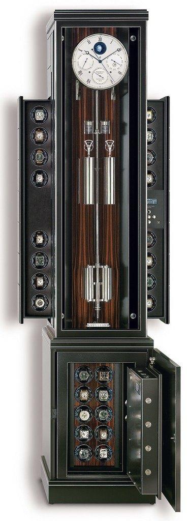 Die Troja Opus Temporis von Erwin Sattler: In dem Gehäuse der Präzisionspendeluhr verbergen sich auch Beweger-Automaten für Armbanduhren.