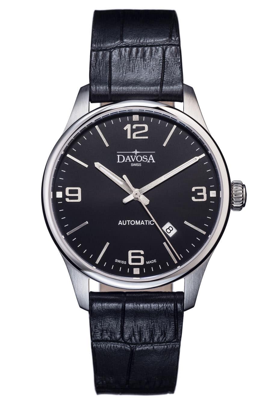 Die Davosa Gentleman Automatic mit schwarzem Zifferblatt