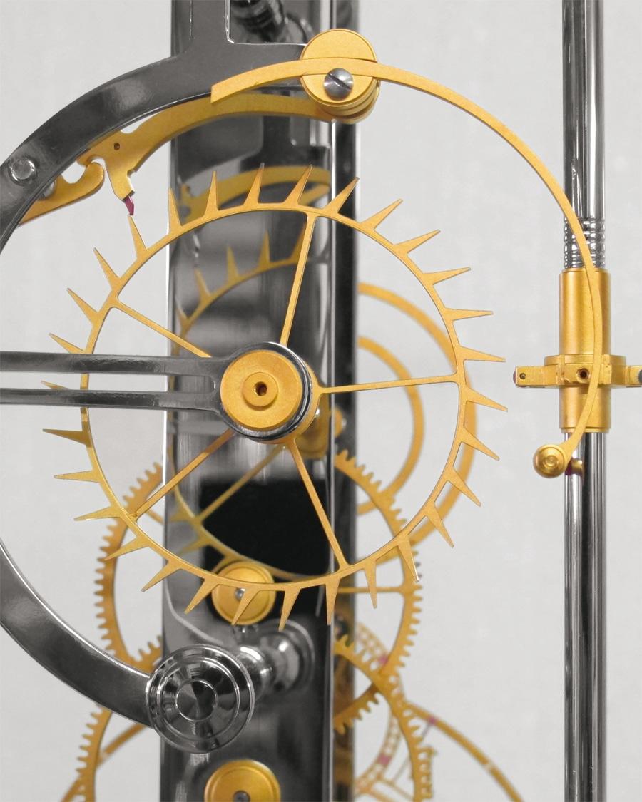 Die »Eleta«-Hemmung: Nach dem Prinzip einer Chronometerhemmung ergeht während einer Schwingung ein direkter Impuls an das Pendel.