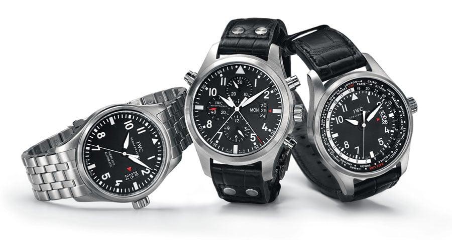 IWC-Zeitmesser im authentischen Cockpitdesign: Fliegeruhr Mark XVII (Ref. 3265), Fliegeruhr Doppelchronograph (Ref. 3778) und Fliegeruhr Worldtimer (Ref.3262)