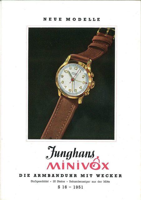 Deutscher Weckruf: Die Marke Junghans meldete 1949 die Minivox zum Patent an. Dieser Armbandwecker mit dem Kaliber J89 bezog die Kraft für Wecker und Gehwerk aus einem Federhaus