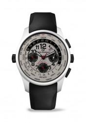 Aus dem Rahmen der Schwarz-Weiß-Gestaltung fallen das Datum und die Zeiger des Flybackchronographen; sie sind rot.