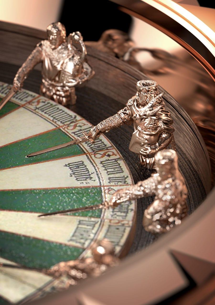 Die Ritter der Tafelrunde zieren das Zifferblatt der Excalibur Table Ronde von Roger Dubuis