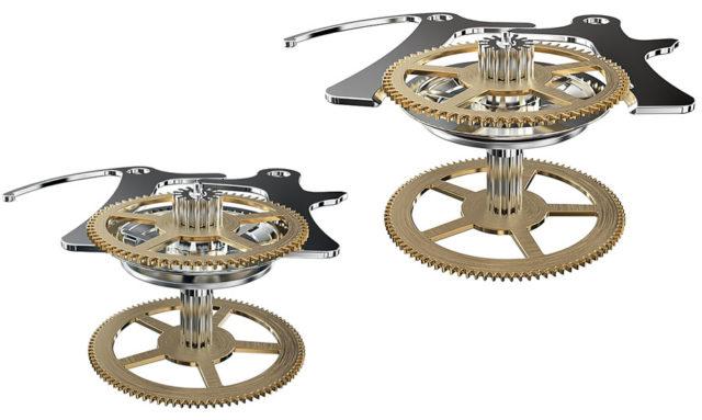 Vertikale Kupplung bei MontblancLinks: Zange geschlossen, die vertikale Kupplung ist getrennt, der Chronoghraph steht.Rechts: Zange offen, die Kupplung ist geschlossen, der Chronograph läuft