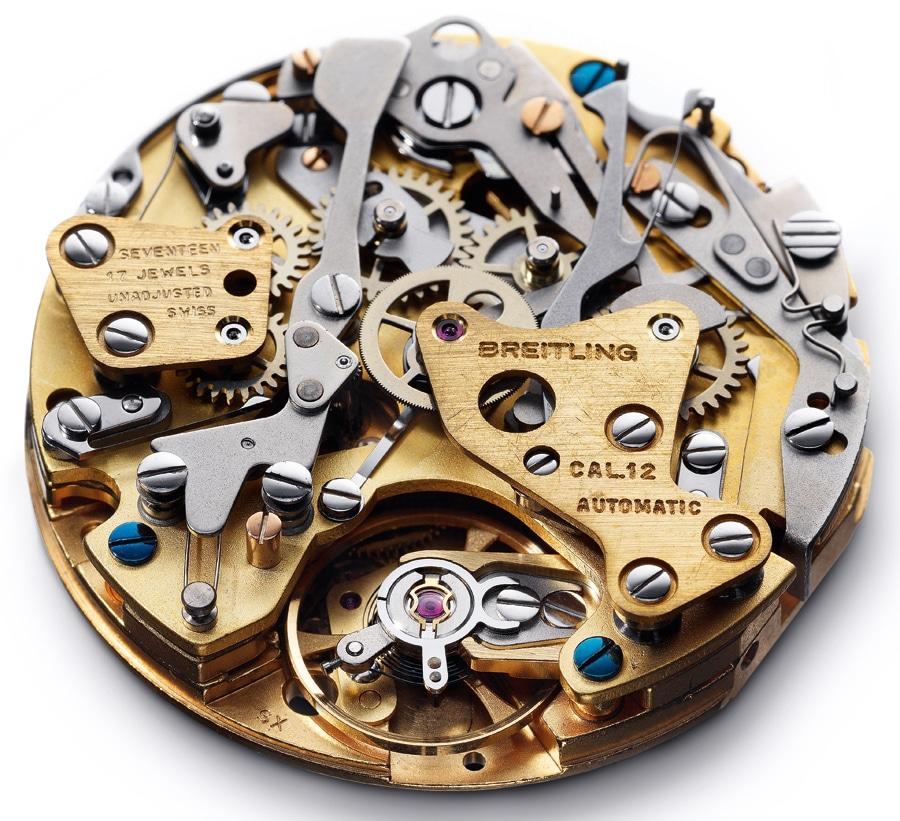 Chrono-Matic Kaliber 12: Zu sehen ist die von hinten auf das Basiswerk aufgesetzte Chronographen-Kadratur. Nicht im Bild ist der Mikrorotor, der den ersten Automatik-Chronographen der Welt antreibt