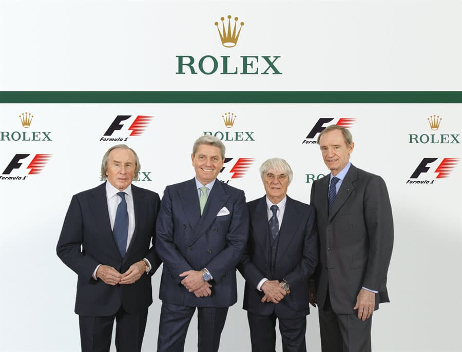 Jackie Stewart, Rolex Testimonial; Gian Riccardo Marini, CEO Rolex SA; Bernie Ecclestone CEO Formel 1; Jean-Claude Killy, Rolex Testimonial und Mitglied des Verwaltungsrats (v.l.)