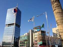 Flagge und Krombacher Seoul