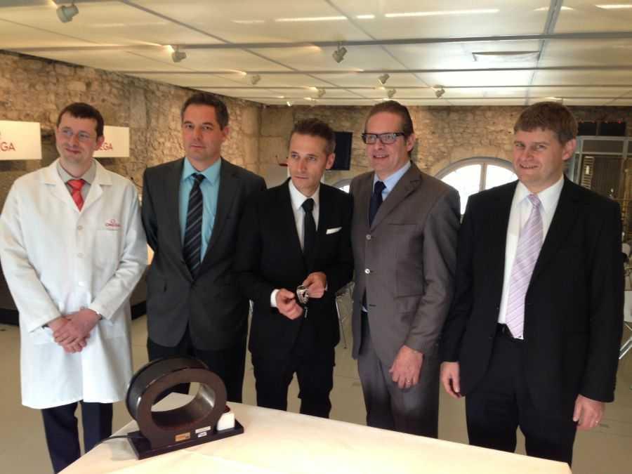 Bei der Omega-Pressekonferenz am 17. Januar 2013 in Genf: Mathieu Oulevey, Thierry Conus, Raynald Aeschlimann, Jean-Claude Monachon and Michel Willemin (v.l.)