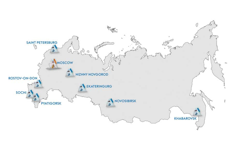 Die Standorte der Omega-Countdown-Uhren für Sotschi 2014